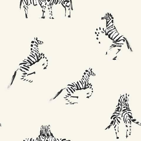 Zebras In Love Peel and Stick Wallpaper