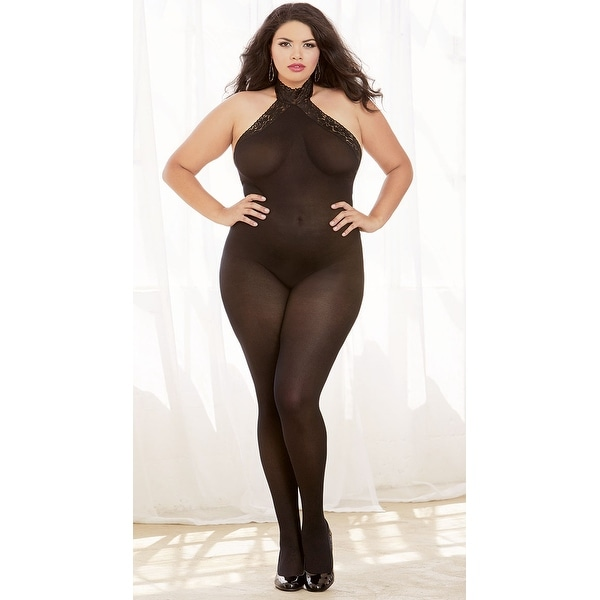 bd1a5be3399 Shop Plus Size Lace-up Mesh Bodystocking