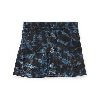 Girls Blue Black Reptile Print Button A-Line Trendy Skirt