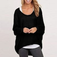 Womens Relaxed Fit Knit High-Low Top +Gift Necklace