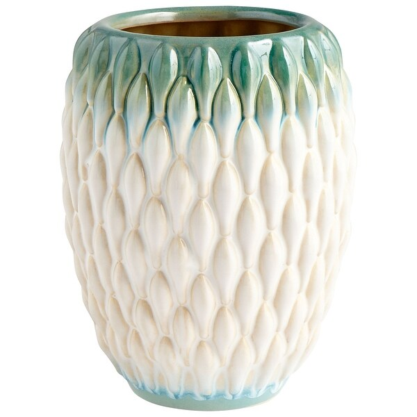 "Cyan Design 09086 Verdant Sea 6"" Diameter Ceramic Vase - Green / White Glaze"