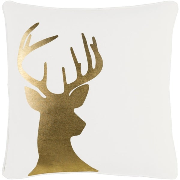 """18"""" Snow White and Rich Gold Decorative Country Rustic Holiday Throw Pillow –Down Filler"""