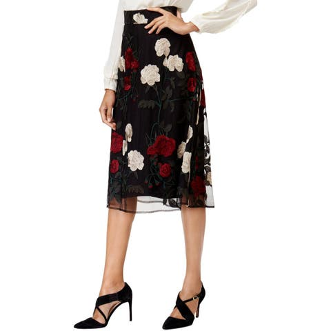 ECI New York Womens A-Line Skirt Floral Knee-Length