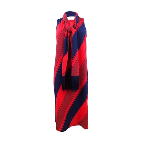 Donna Ricco Women's Striped Shift Dress & Scarf (8, Red/Navy) - Red/Navy