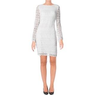 Lauren Ralph Lauren Womens Plus Cocktail Dress Lace Geometric - 22W