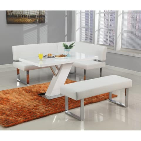 Somette Lillian Gloss White Dining Set with Nook and Bench