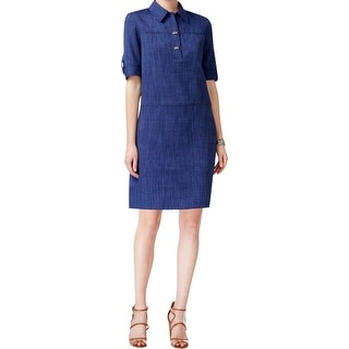 Tahari Womens Shirtdress Chambray Roll-Tab Sleeves