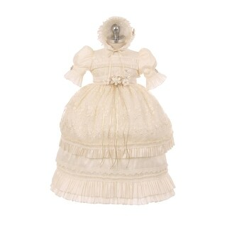 RainKids Baby Girls Ivory Shantung Floral Ruffle 3 Pc Bonnet Baptism Gown