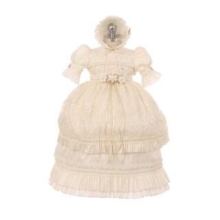 RainKids Little Girls Ivory Shantung Floral Ruffle 3 Pc Bonnet Baptism Gown