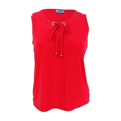 Tahari ASL Women's Plus Size Lace-Up Keyhole Top - Tomato Red