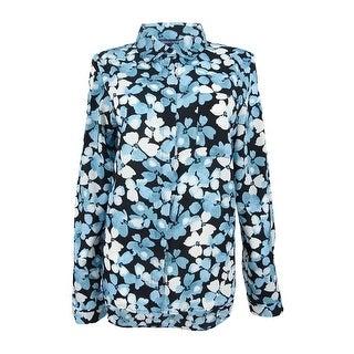 Tommy Hilfiger Women's Printed Roll-Tab Shirt (M, Porcelain Blue) - porcelain blue - m