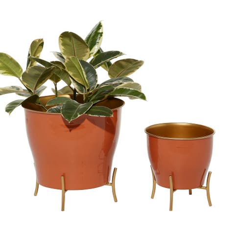 Round Orange Enamel Metal Planters w Gold Inlay And Stand, Set Of 2 - 12 x 12 x 12Round