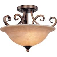 Dolan Designs 2095 2 Light Semi-Flush Ceiling Fixture with Mojave Glass - Gold