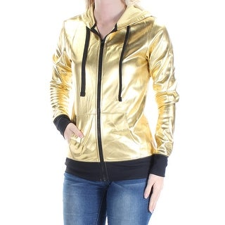 MATERIAL GIRL Womens New 1621 Gold Zip Up Active Wear Jacket S Juniors B+B