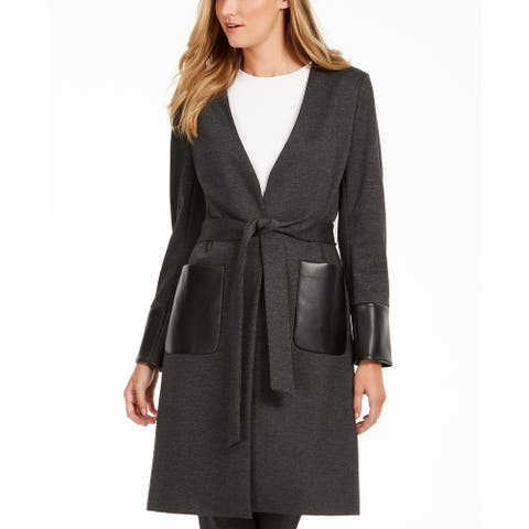 Calvin Klein Women's Faux-Leather-Trim Belted Cardigan Gray Size 10