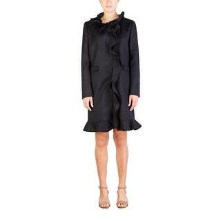 Prada Women's Virgin Wool Ruffled Trench Coat Black - 10|https://ak1.ostkcdn.com/images/products/is/images/direct/899d7e2e6ec7a46a0a5864166b91b0d0969493e8/Prada-Women%27s-Virgin-Wool-Ruffled-Trench-Coat-Black.jpg?impolicy=medium
