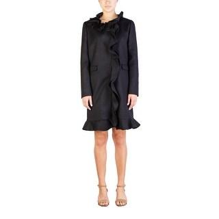 Prada Women's Virgin Wool Ruffled Trench Coat Black - 10