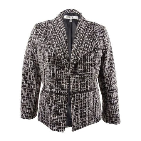 Kasper Women's Tweed Zipper-Side Blazer (12, Toffe Multi)