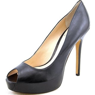 Vince Camuto Lorimina Women Open Toe Leather Black Platform Heel