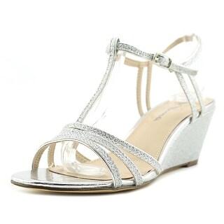 Nina Noma Women Open Toe Synthetic Silver Wedge Heel