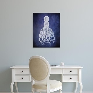 Easy Art Prints Fab Funky's 'Octopus, Twisted White on Blue' Premium Canvas Art