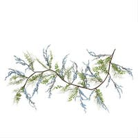 5' Green, Blue and Brown Mixed Berry and Spring Floral Decorative Artificial Garland - Green