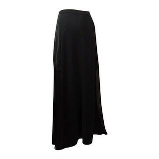 DKNYC Women's Seamed Sheer Panel A-Line Maxi Skirt