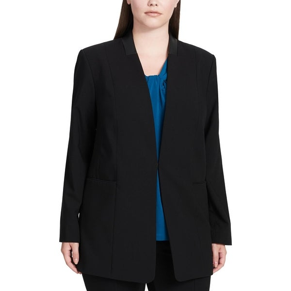 2e9934764bd Calvin Klein Womens Plus Collarless Blazer Office Business Wear