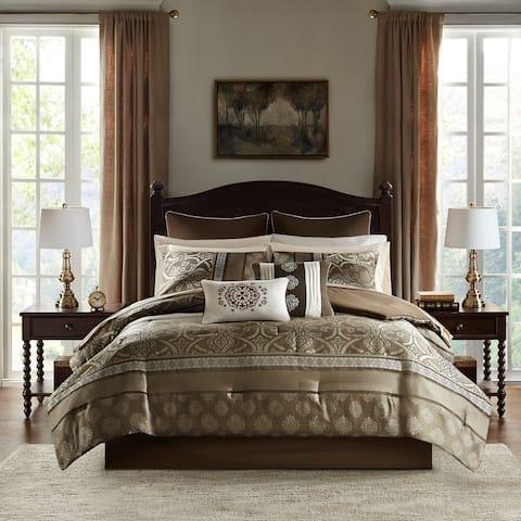 Madison Park Essentials Alexine Brown 16 Piece Jacquard Complete Bedding Set With 2 Sheet Sets
