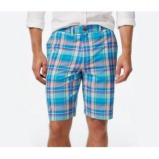 Tommy Hilfiger NEW Madras Blue Mens Size 34 Classic-Fit Plaid Shorts