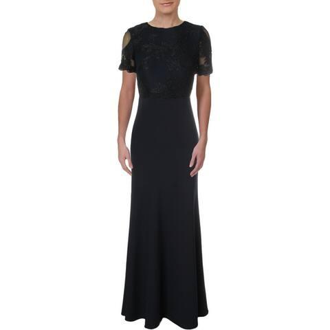 Lauren Ralph Lauren Womens Brinley Evening Dress Lace Inset Scalloped Hem - Navy