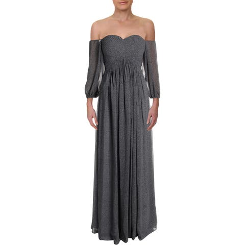 Halston Heritage Womens Evening Dress Off-The-Shoulder Sweetheart - Slate Blue