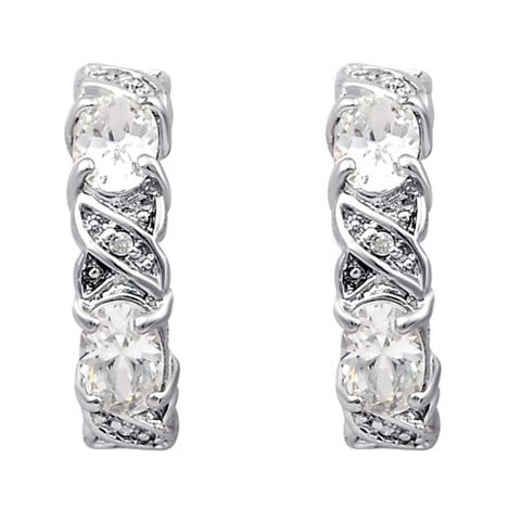 Cubic Zirconia Sterling Silver Oval Stud Earrings By Orchid Jewelry