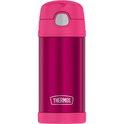 Thermos funtainer ss insulated straw bottle 120z pink