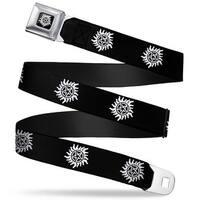 Winchester Logo Full Color Black White Winchester Pentagram Repeat Black Seatbelt Belt