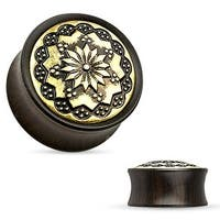 Floral Tribal Pattern Ebony Wood Double Flare Saddle Fit Plug (Sold Individually)