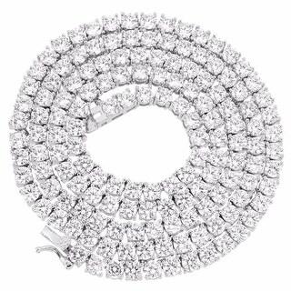 Mens Tennis Link Necklace 14K Gold Finish 1 Row Lab Diamonds - Yellow