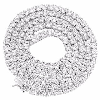 "Silver Tone 1 Row 3MM Simulate Diamond Iced Out Chain 24"" HipHop Tennis Necklace"