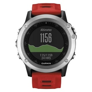 Garmin fenix 3 Multisport Training GPS Watch (Silver with Red Band)