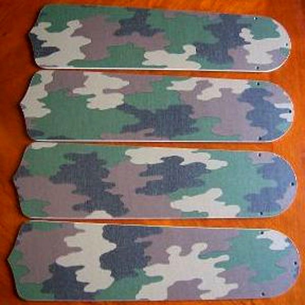 Green Camoflague Custom Designer 42in Ceiling Fan Blades Set - Multi
