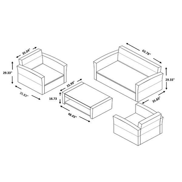 Montrose 4-Piece Rattan Wicker Conversation Set with Marbleized Glass