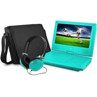 Ematic Epd909tl 9In Swivel Teal Portable Dvd Player W/ Matching Headphones & Bag