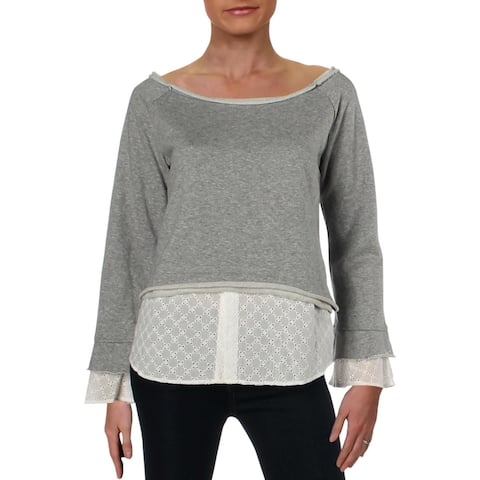 Aqua Womens Sweatshirt Eyelet Trim Boatneck - S
