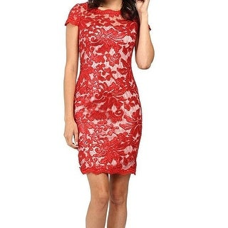 73f028d1231 Shop Calvin Klein NEW Red Womens Size 8 Sequined Lace Illusion Sheath Dress  - Free Shipping Today - Overstock - 18822935