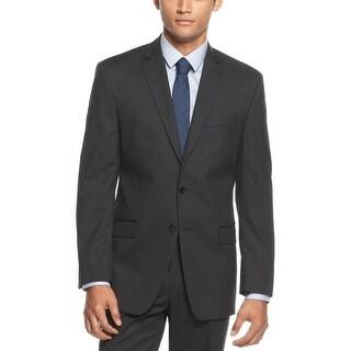 Calvin Klein CK Slim Fit Black Mini Herringbone Sportcoat 40 Regular 40R