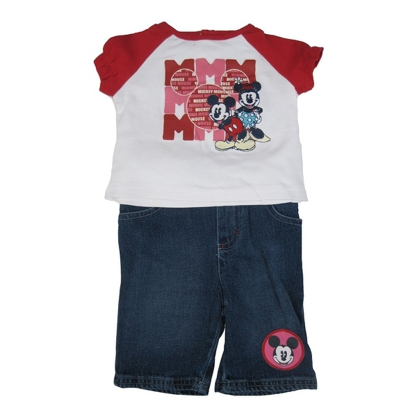 Disney Baby Girls Red White Mickey Minnie Mouse Top Denim Pants Outfit 12-24M