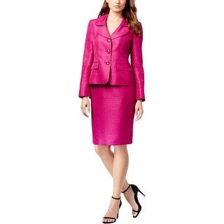 Le Suit Womens Quebec Skirt Suit Metallic 2PC