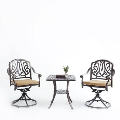 Moda Elizabeth Cast Aluminum Garden Furniture 3 Pcs Set with Cushions
