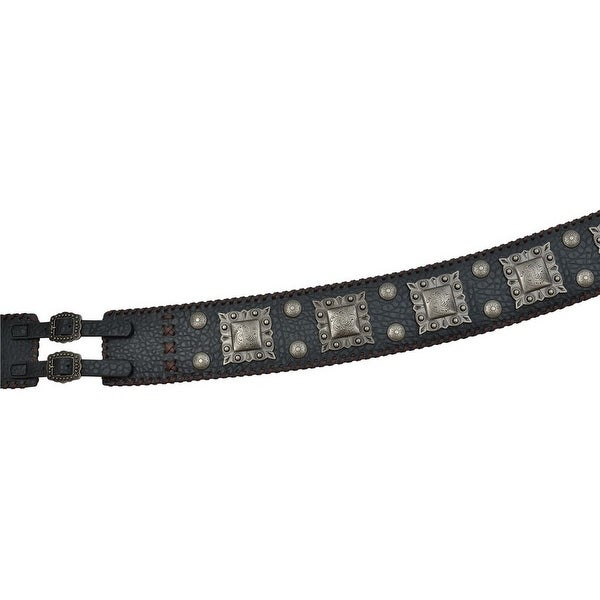 Angel Ranch Western Belt Womens Lacing Round Square Black