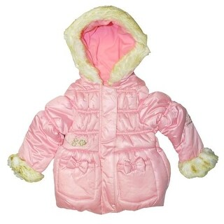 London Fog Girls 2T-4T Fur Bow Jacket
